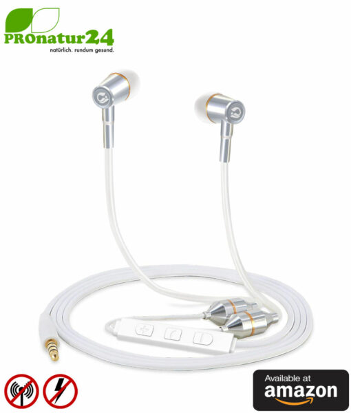 Tuisy Air Tube Anti Electrosmog Stereo Headset with Microphone. Modern AirTube Headphones with volume control. For iPhone, Android, Smartphones. Available at Amazon.
