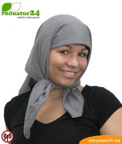 Shielding headscarf TKG made of STEEL GRAY. 35 dB protection against electrosmog from mobile phone radiation, LTE, 5G, WLAN, etc.