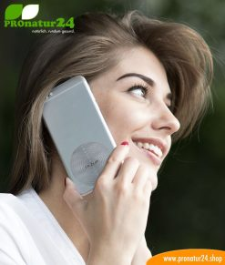 FAZUP silver. Passive antenna for reduction from mobile phone radiation! Innovative protection against electrosmog from iPhone, Samung, Huawei. Stick on like harmonizing chip.